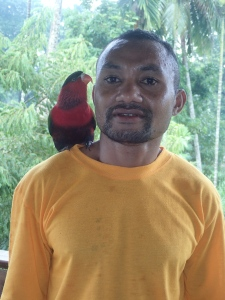Friend with lorikeet on shoulder