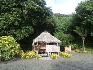 Our traditional bungalow on the black volcanic sand beach of SE Tanna Island.
